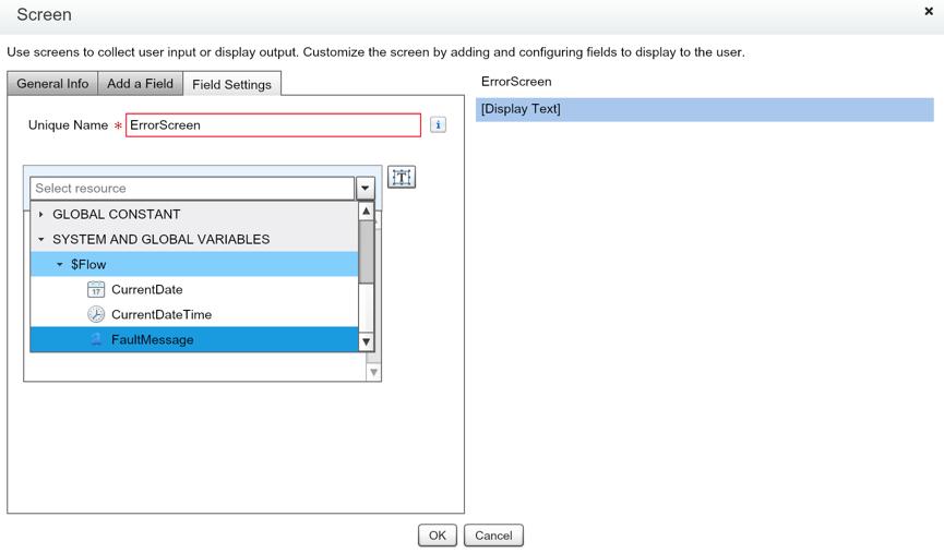 Salesforce Flow Error Screen