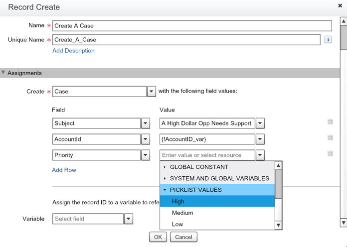 Salesforce Flow Record Create