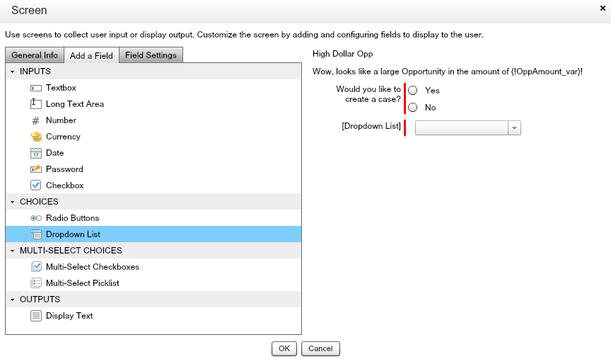 Salesforce Flow Add Dropdown List