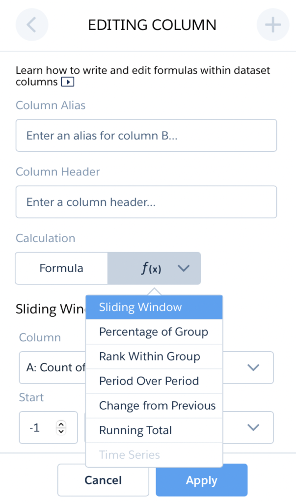 Sliding Window tableau crm