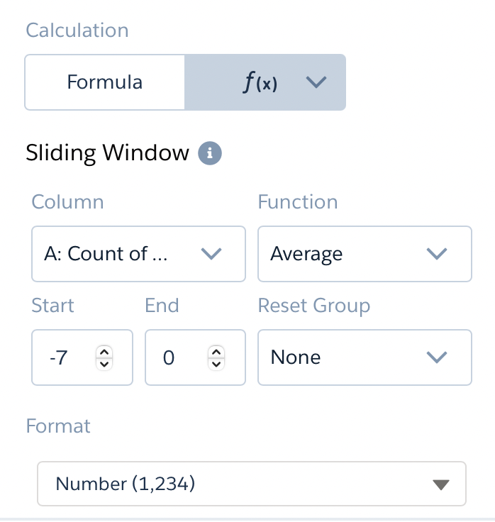 Windowing function 7 day moving average in tableau crm reset group start end column and format for sliding window